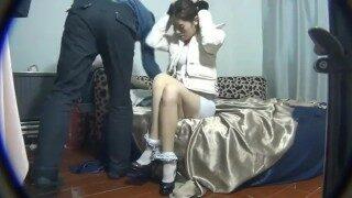 Asian girl bondage with white socks