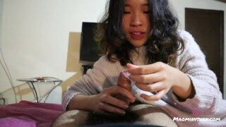 Hot Chinese girlfriend gives an oiled handjob POV